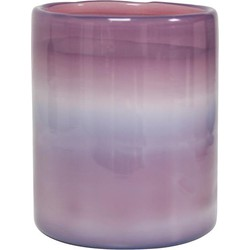 HK-living waxinelichthouder paars wolken glas 9x9x11 cm handgeblazen
