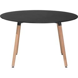 Eettafel zwart 120 cm rond BOVIO