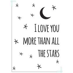 I love you more than all the stars - Zwart Wit poster - A4 + Fotolijst zwart