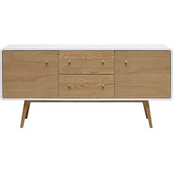 24Designs Dressoir Hedmark 2 Deurs/2 Laden - 150x42x71 - Wit - Eiken