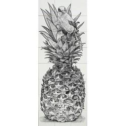 Ananas met vogel in gravure stijl 8x3 zwart