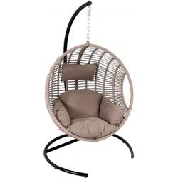 24Designs SALE - Relax Hangstoel Ibiza 1-Persoons Egg Chair - Zand Vlechtwerk + Taupe Kussens