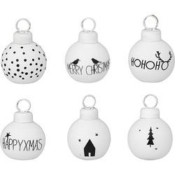 Räder Set hippe zwart wit kerstballen kaarthouders