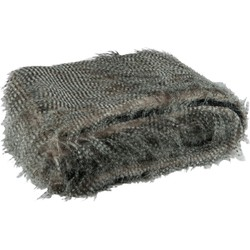 J-Line Plaid Fake Fur Stripes 180 X 130