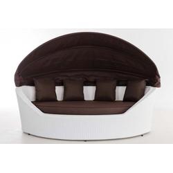 24Designs Ovaal Lounge Ligbed Santorini - Wit Vlechtwerk - Bruine Kussens