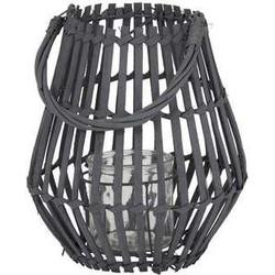 Windlicht Ø24,5x28 cm MYKONOS zwart met hendel+glas