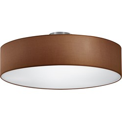 Modern Ceiling Lamp Matte Nickel with Round Brown Shade - Hotel