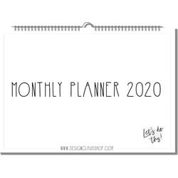 Jaarplanner 2020 A3 formaat zwart wit   Maandplanner Familieplanner - Planner