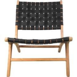Loungestoel - leder/teak - zwart