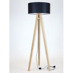 Lamp Wanda massief essenhout met zwarte kap en zig zag kabel