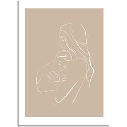 Poster vrouw met baby naturel - minimalisme - A3 + fotolijst wit
