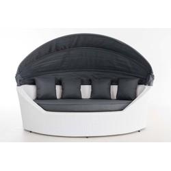 24Designs Ovaal Lounge Ligbed Santorini - Wit Vlechtwerk - Grijze Kussens