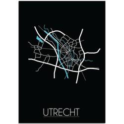 Utrecht - Stadskaart - Plattegrond - Interieur poster - Wanddecoratie - zwarte achtergrond - zwart wit poster - A3 poster