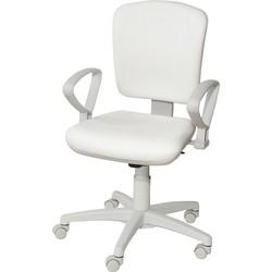 24Designs Bureaustoel Medline - Wit Kunstleer/Lichtgrijs Kunststof - Kruispoot