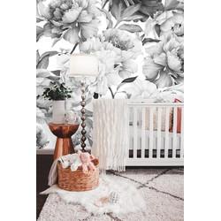 Zelfklevend behang XL Bloemenprint Zwart Wit