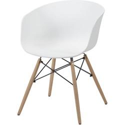 Studs - Kuipstoelen - set van 4 - kunststof PP - Wit - houten onderstel