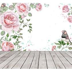 Vliesbehang Vintage Bloemen Roze Baby 350x250