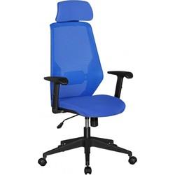 24Designs Tess Bureaustoel - Blauwe Stoffen Zitting - Kunststof Kruispoot