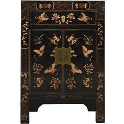 Fine Asianliving Fine Asianliving Chinese Kast Handgetekende Gouden Vlinders Zwart