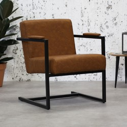 Industriële moderne fauteuil Holden cognac