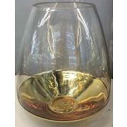 Windlicht Ø22x25 cm BOTICAS glas helder+goud