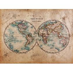 ESTAhome fotobehang two hemispheres bruin en blauwgroen