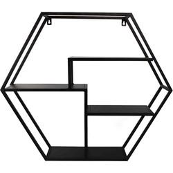 Hexagon Wandkast-60x52cm-Metaal-Zwart-Housevitamin