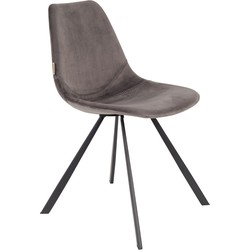 Dutchbone Eetkamerstoel Franky Velvet Grey 83 x 46 x 56