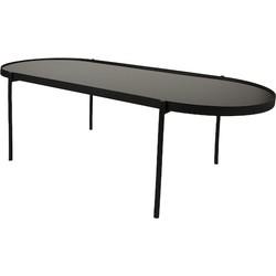 Home Delight salontafel Ovum glas metaal 120x54cm zwart