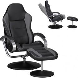 24Designs Indiana Racer II Game & Relax Fauteuil - Zwart/Grijs