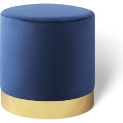 Fluwelen poef Beau koningsblauw met goud - Lifa Living - 38 (diameter) x 38 (hoog)