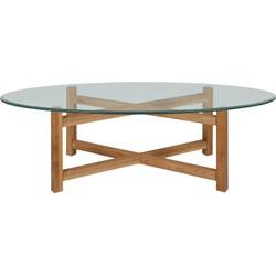 24Designs Ovale Salontafel Batul - L140 X B65 X H45 Cm - Eiken - Glas