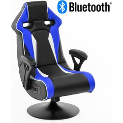 24Designs Silverstone - Racestoel Gamestoel Rocker - Bluetooth & Speakers - Zwart / Blauw