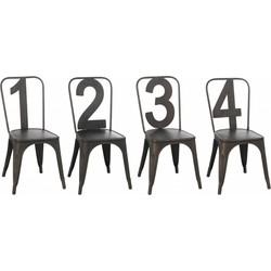 Industry Numbers - Stoelen - set van 4 - 1234 genummerd - antraciet grijs - metaal
