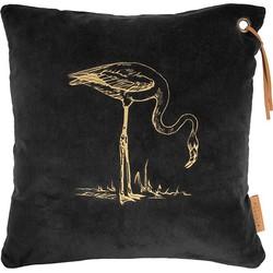 Zusss Flamingo Kussen Fluweel 45 x 45 cm - Zwart