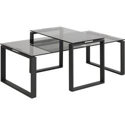 24Designs Salontafel Serenity - Tafelblad Smoke Glas - Mat Zwart Metalen Onderstel