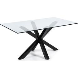 LaForma Arya Tafel 160x90x75 Cm - Glazen Blad - Zwart Onderstel
