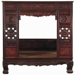 Fine Asianliving Antiek Chinees Bed Handgesneden 18e Eeuw