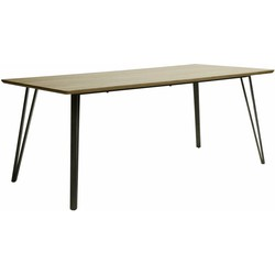 V- Eettafel - rechthoekig - 240x100cm - MDF - 3D eiken bruin - V-stalen poten