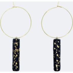 Gold Hoop Earrings - Black and Specks Bar Pendant