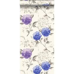 ESTAhome behang hortensia's diepblauw en paars