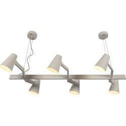 Hanglamp ijzer Biarritz 6-arm, wit