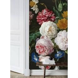 Zelfklevend behang Vaas bloemen zwart 250x250cm