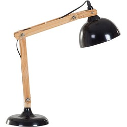 Bureaulamp met hout in zwart, tafellamp, industrieel - SALADO