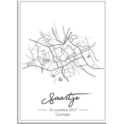 Geboorteposter Grijs - Stadskaart - Geboorteplaats - A4 poster zonder fotolijst