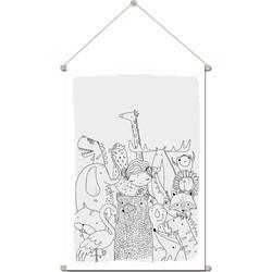 Textielposter Schoolplaat Dierenrijk DesignClaud - Kinderkamer Babykamer - 60 x 90 cm muurdecoratie - Grijs