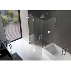 Ben Yess Zijwand voor bad 30-130x140 cm RVS-look / Helder Glas