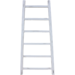 Decoratieve ladder Tangga - 150 cm - wit - teak