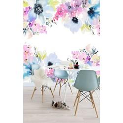 Vliesbehang XL Bloemenprint blauw roze 250x250 cm
