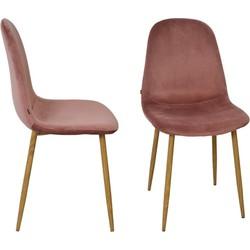 Stockholm stoel - velvet roze - set van 4